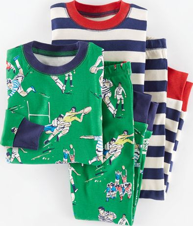 Mini Boden, 1669[^]34941955 Cosy Twin Pack Long Johns Broccoli Rugby/Navy
