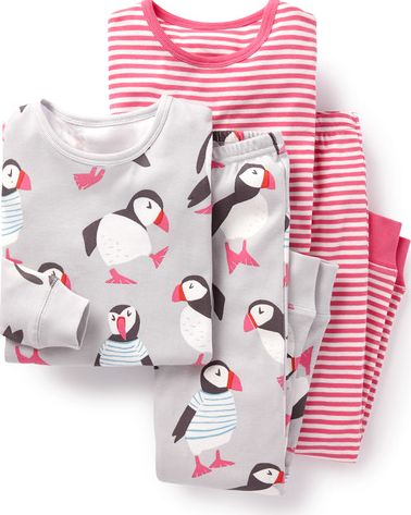 Mini Boden, 1669[^]35268549 Cosy Twin Pack Long Johns Light Grey Puffins