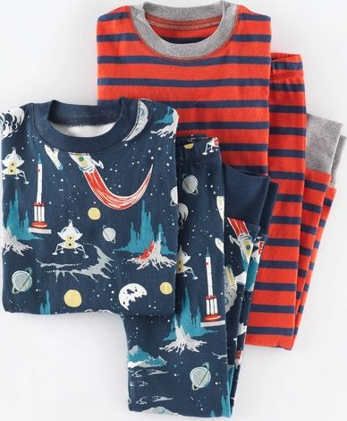 Mini Boden, 1669[^]34942185 Cosy Twin Pack Long Johns Storm Rockets/Flame