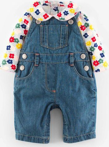Mini Boden, 1669[^]35109115 Dungaree and Collar Body Set Mid Wash