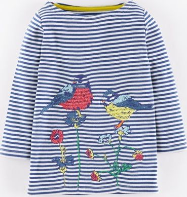 Mini Boden, 1669[^]34912915 Embroidered Hedgerow T-shirt Soft Navy Birds