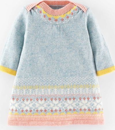 Mini Boden, 1669[^]35121383 Fair Isle Knitted Dress Powder Blue Mini Boden,