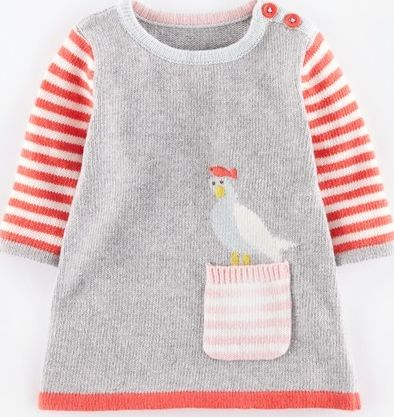 Mini Boden, 1669[^]34980326 Fun Pocket Knitted Baby Dress Grey Marl/Seagull
