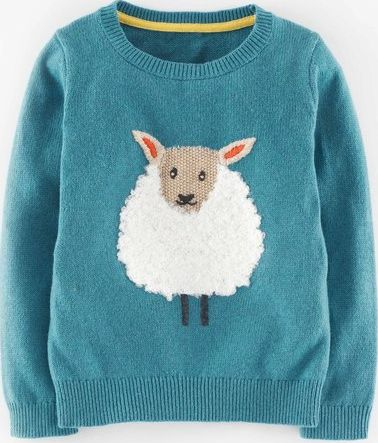 Mini Boden, 1669[^]35130707 Fun Woolly Jumper Vintage Blue Marl Sheep Mini