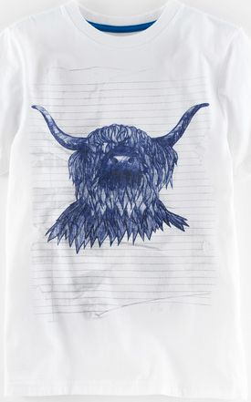 Mini Boden, 1669[^]34930958 Graphic T-shirt White/Shetland Cow Mini Boden,