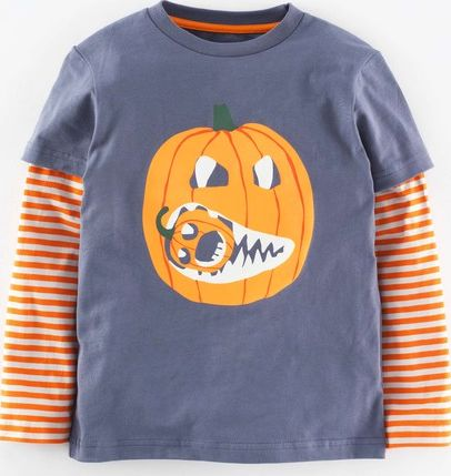 Mini Boden, 1669[^]34963439 Halloween T-shirt Slate/Pumpkin Mini Boden,