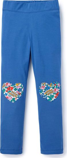 Mini Boden, 1669[^]35167378 Heart Patch Leggings Washed Bluebell/Multi