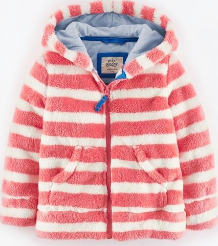 Mini Boden, 1669[^]34900498 Hooded Teddy Zip Through Washed Red/Ecru Stripe