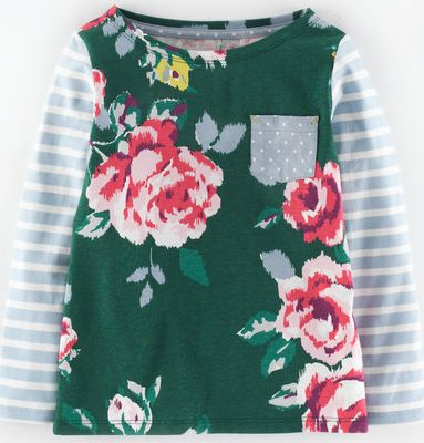 Mini Boden, 1669[^]34967026 Hotchpotch T-shirt Forest Green Painted Rose