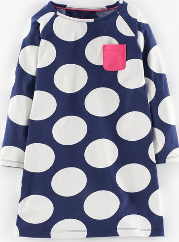 Mini Boden, 1669[^]34966747 Jersey Spot Dress Navy Spot Mini Boden, Navy