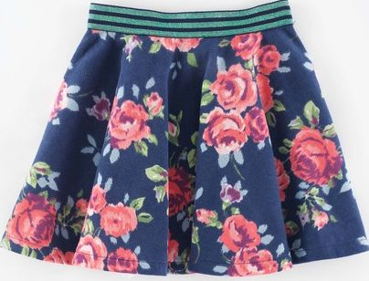 Mini Boden, 1669[^]34898932 Jersey Twirly Skirt Navy Painted Rose Mini