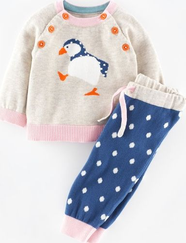 Mini Boden, 1669[^]34981324 Knitted Play Set Oatmeal Marl/Puffin Mini Boden,