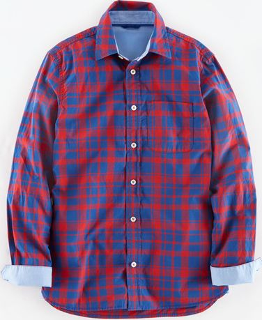 Mini Boden, 1669[^]34939777 Laundered Shirt Red/Reef Check Mini Boden,