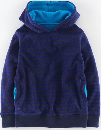 Mini Boden, 1669[^]34926766 Micro Fleece Hoody Midnight/Indigo Stripe Mini