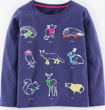 Mini Boden, 1669[^]35026772 Nature Trail T-shirt Twilight Hedgerow Animals
