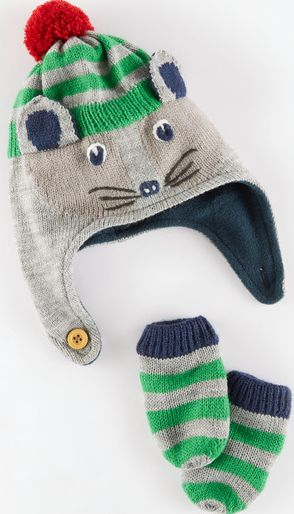 Mini Boden, 1669[^]34958355 Novelty Hat and Mittens Set Grey Marl/Badger