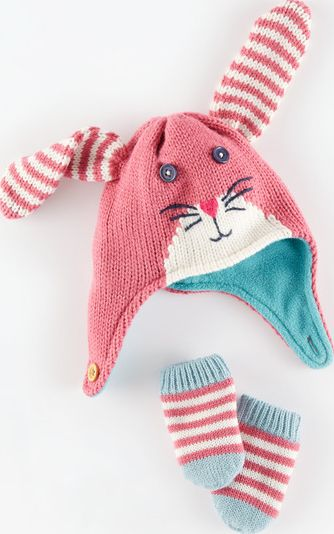 Mini Boden, 1669[^]34958421 Novelty Hat and Mittens Set Pink Fondant/Rabbit