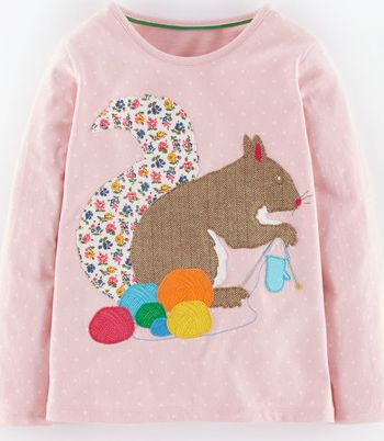 Mini Boden, 1669[^]34973289 Patchwork Appliqué T-shirt Blush Knitting