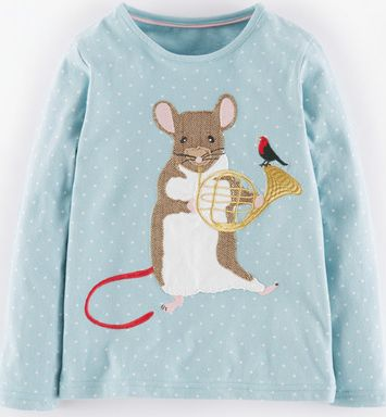 Mini Boden, 1669[^]34973446 Patchwork Appliqué T-shirt Powder Blue Musical