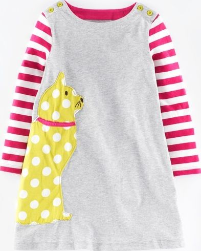 Mini Boden, 1669[^]34970251 Pop Appliqué Dress Grey Marl Cat Mini Boden,