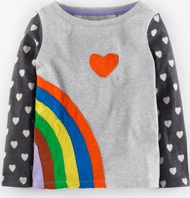 Mini Boden, 1669[^]34972539 Pop Art T-shirt Grey Marl Rainbow Mini Boden,