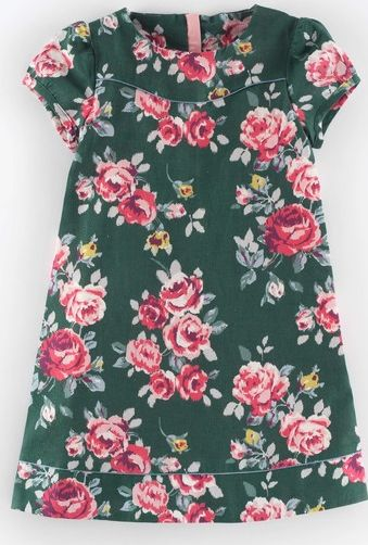 Mini Boden, 1669[^]34991000 Pretty Printed Dress Forest Green Painted Rose