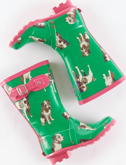 Mini Boden, 1669[^]34919894 Printed Wellies Green Dogs Mini Boden, Green