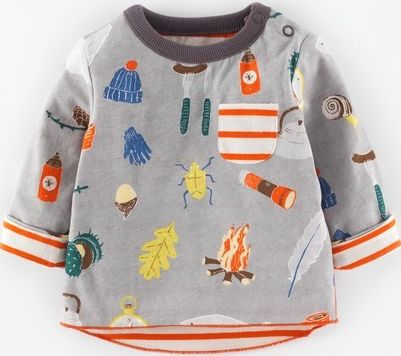 Mini Boden, 1669[^]34987362 Reversible Printed T-shirt Grey Camping/Satsuma