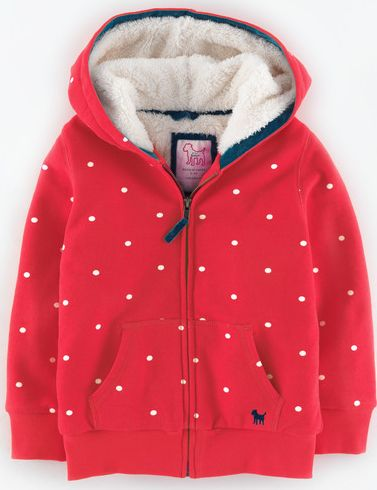 Mini Boden, 1669[^]34903310 Shaggy Lined Zip Through Washed Red/Ecru Spot