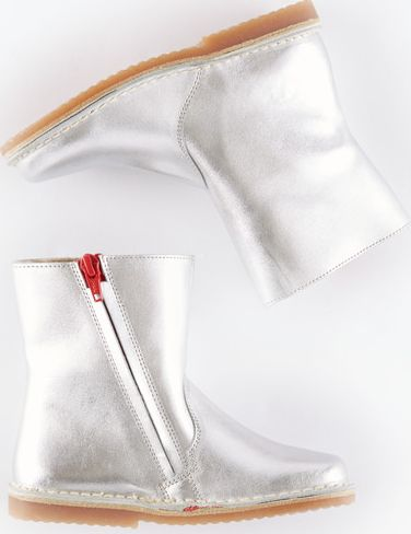 Mini Boden, 1669[^]34927566 Short Leather Boots Silver Leather Mini Boden,