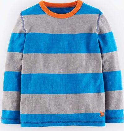 Mini Boden, 1669[^]34976928 Slubby Stripe T-shirt Cobalt/Elephant Marl Mini