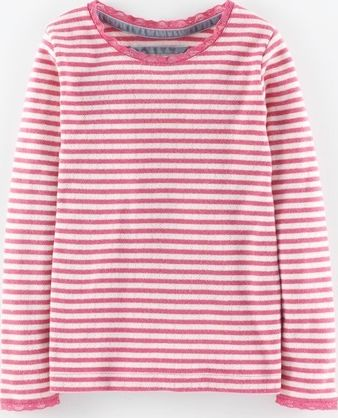 Mini Boden, 1669[^]34967570 Sparkly Pointelle T-shirt Pink Fondant Stripe
