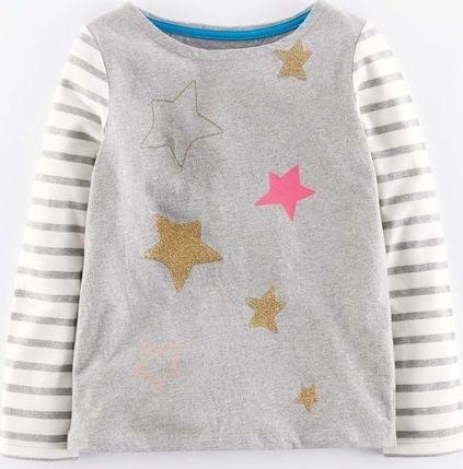 Mini Boden, 1669[^]35263359 Sparkly Space T-shirt Grey Mini Boden, Grey