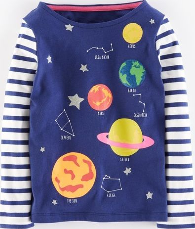 Mini Boden, 1669[^]35133776 Sparkly Space T-shirt Soft Navy Constellation