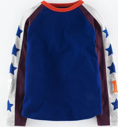 Mini Boden, 1669[^]34976399 Sports Raglan T-shirt Indigo/Aubergine Mini
