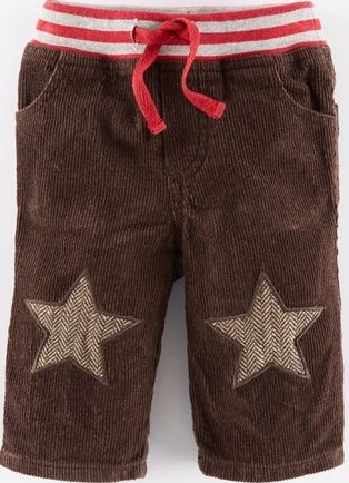 Mini Boden, 1669[^]34961375 Star Patch Cord Trousers Brown/Tweed Stars Mini