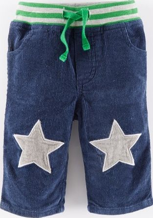 Mini Boden, 1669[^]34961490 Star Patch Cord Trousers Utility Blue/Grey Stars