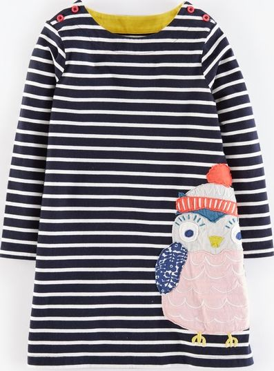 Mini Boden, 1669[^]35132711 Stripy Appliqué Jersey Dress Navy Owl Mini