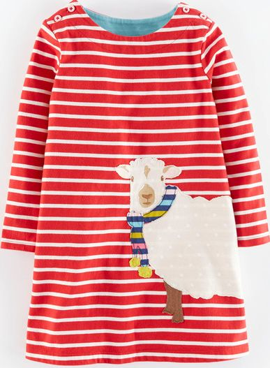 Mini Boden, 1669[^]35132869 Stripy Appliqué Jersey Dress Washed Red Sheep