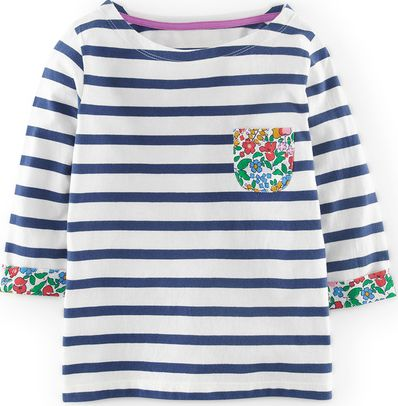 Mini Boden, 1669[^]34516849 Stripy Boat Neck Snowdrop/Soft Navy Mini Boden,