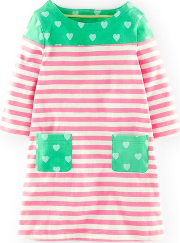 Mini Boden, 1669[^]34611814 Stripy Hotchpotch Dress Pea Sweetheart Mini
