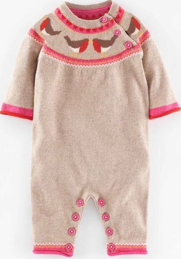 Mini Boden, 1669[^]35121342 Super Soft Knitted Romper Oatmeal Marl/Robin