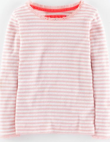 Mini Boden, 1669[^]35010859 Super Soft Pointelle T-shirt Blush Stripe Mini