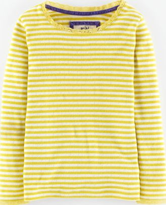 Mini Boden, 1669[^]35011006 Super Soft Pointelle T-shirt Lime Tree Stripe