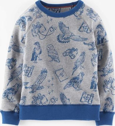Mini Boden, 1669[^]34921635 Sweatshirt Grey Marl Bird Watching Print Mini