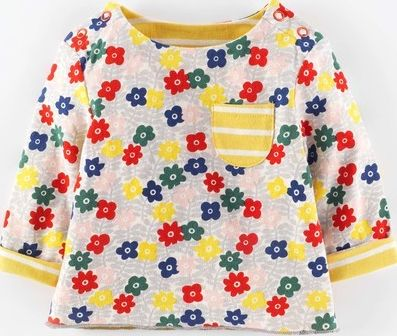 Mini Boden, 1669[^]34987156 Sweet Reversible T-shirt Flower Stamp/Yellow