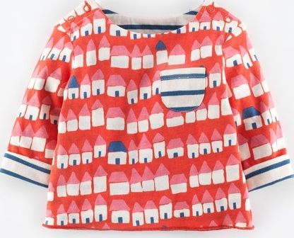 Mini Boden, 1669[^]34987214 Sweet Reversible T-shirt Washed Red Huts/Coastal