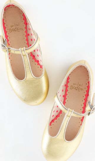Mini Boden, 1669[^]34917021 T-Bar Flats Gold Leather Mini Boden, Gold