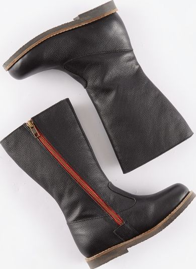 Mini Boden, 1669[^]34965103 Tall Leather Boots Black Leather Mini Boden,