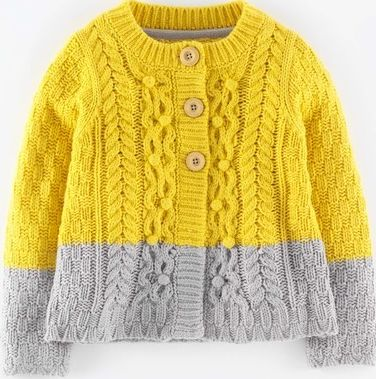 Mini Boden, 1669[^]34906826 Textured Cable Cardigan Fishermans Yellow